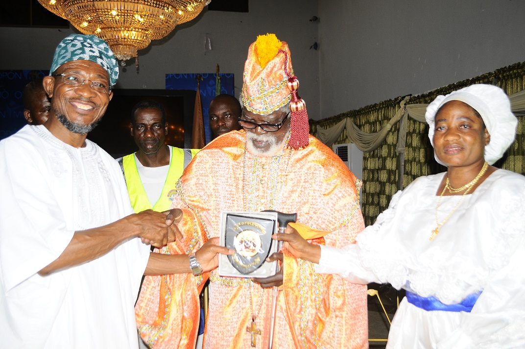From left, Governor State of Osun, Ogbeni Rauf Aregbesola; Spiritual Head, Celestial Church of Christ (CCC) Worldwide, Prophet Paul Maforikan and Matron, Osun CCC, Mother Celestial Sola Maforikan, during a Courtesy Visit by the CCC Worldwide and Pledging Support for the Governor's Second term in Office, at Government House, Osogbo, State of Osun on Wednesday 19-03-2014