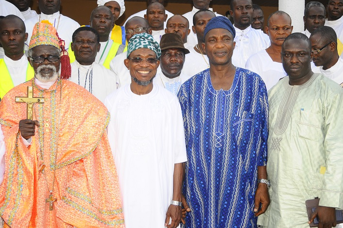 Governor State of Osun, Ogbeni Rauf Aregbesola (2nd left); Secretary to the State Government, Alhaji Moshood Adeoti (2nd right); Special Adviser to the Governor on Environment and Sanitation, Mr Bola Ilori (right); Spiritual Head, Celestial Church of Christ (CCC) Worldwide, Prophet Paul Maforikan (left) and others, during a Courtesy Visit by the CCC Worldwide and Pledging Support for the Governor's Second term in Office, at Government House, Osogbo, State of Osun on Wednesday 19-03-2014