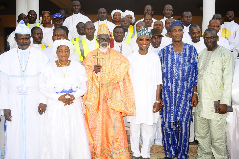 Governor State of Osun, Ogbeni Rauf Aregbesola (3rd right); Secretary to the State Government, Alhaji Moshood Adeoti (2nd right); Special Adviser to the Governor on Environment and Sanitation, Mr Bola Ilori (right); Spiritual Head, Celestial Church of Christ (CCC) Worldwide, Prophet Paul Maforikan (3rd left); Head, Osun Arch-Diocese CCC, Evangelist Samson Adelani (left); Matron, Osun CCC, Mother Celestial Sola Maforikan (2nd left) and others, during a Courtesy Visit by the CCC Worldwide and Pledging Support for the Governor's Second term in Office, at Government House, Osogbo, State of Osun on Wednesday 19-03-2014