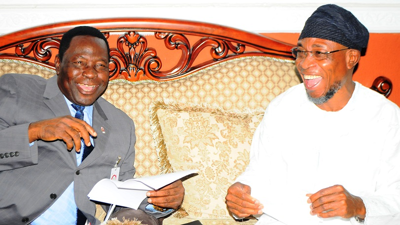 Governor State of Osun, Ogbeni Rauf Aregbesola and National President the Apostolic Church Nigeria/Territorial Chairman, Pastor Gabriel Olutola during a courtesy visit to the Governor Osun, at Government House, Osogbo,at the weekend