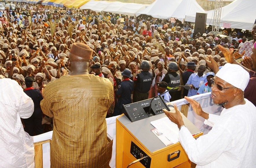 Governor State of Osun, Ogbeni Rauf Aregbesola addressing the crowd that trouped out to Support his second term in Office, during his endorsement by the Board of Local Government Education Authority (LGEA) at Nelson Mandela Freedom Park, Osogbo, State of Osun on Sunday 23-03-2014