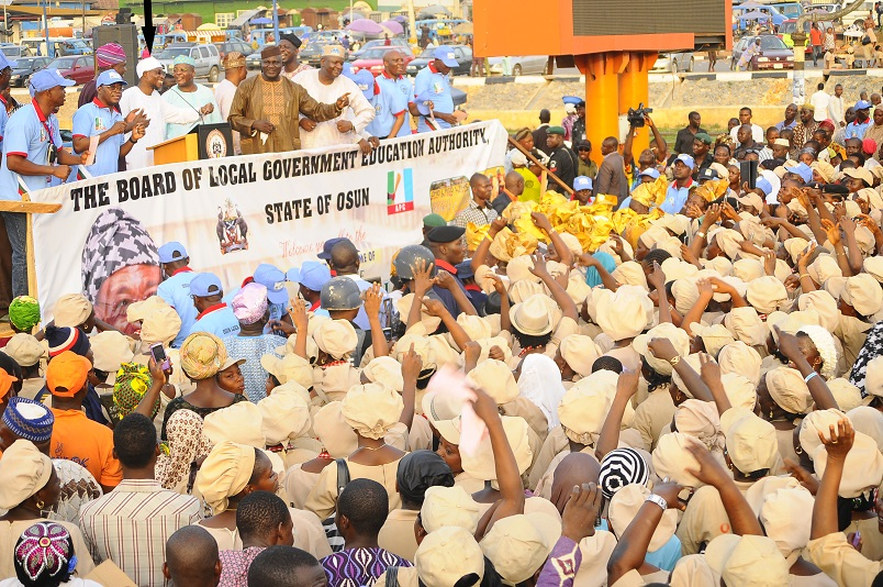 Governor State of Osun, Ogbeni Rauf Aregbesola (arrowed); Chief of Staff to the Governor, Alhaji Gboyega Oyetola; Interim Chairman, All Progressives Congress (APC) Osun Chapter, Elder Adelowo Adebiyi; Secretary Osun APC, Prince Gboyega Famodun and others, during the Governors' Endorsement for Second Term in Office by the Board of Local Government Education Authority (LGEA) at Nelson Mandela Freedom Park, Osogbo, State of Osun on Sunday 23-03-2014