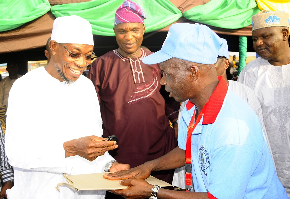 From left, Governor State of Osun, Ogbeni Rauf Aregbesola; Secretary to the State Government of Osun, Alhaji Moshood Adeoti; Chairman of Chairmen, Board of Local Government Education Authority (LGEA), Honourable Isa Ojewale and Secretary All Progressives Congress (APC) Osun Chapter, Prince Gboyega Famodun, during the Governors' Endorsement for Second Term in Office by the LGEA Board, at Nelson Mandela Freedom Park, Osogbo, State of Osun on Sunday 23-03-2014
