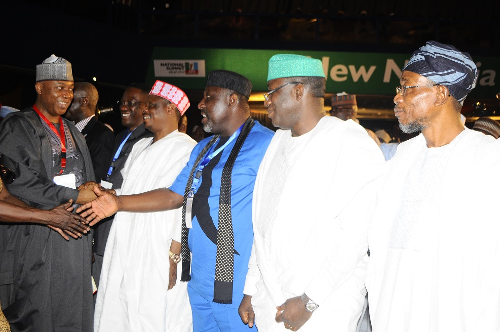 Governor State of Osun, Ogbeni Rauf Aregbesola(right) Ekiti State Governor, Dr. Kayode Fayemi(2nd right), Imo State Governor, Rochas Okorocha(4thleft)Kano State Governor, Mohammed Kwankwaso(3 rd left)Kwara State Governor,Abdulfatah Ahmedq(2nd left) and Senator Bukola Saraki (left) during the National Summit of All Progressive Congress (APC), at congress Hall, Transcorp  Hillton Hotel, Abuja on Thursday 6/03/2013.