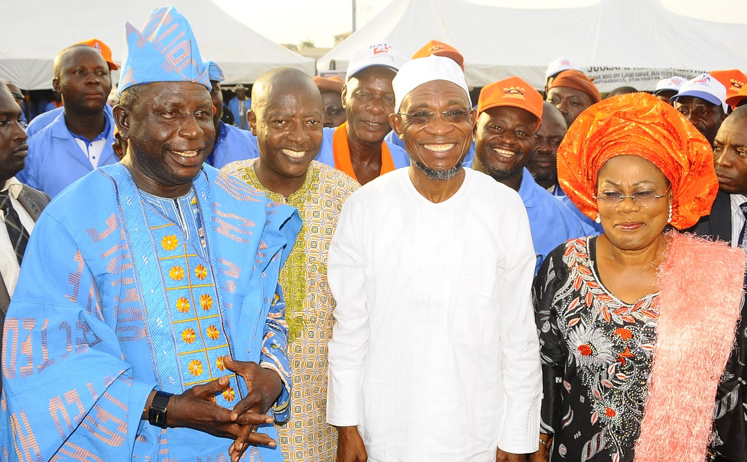 From right, Deputy Governor State of Osun, Mrs Titi Laoye Tomori; Governor, Ogbeni Rauf Aregbesola; National Secretary, Nigeria Automobile Technician Association (NATA), Comrade David Ajetunmobi; South West President, NATA, Comrade Dele Odewale and others, during the governor's Endorsement for Second Term in Office and Inauguration of State Executives at Nelson Mandela Freedom Park, Osogbo on Thursday 20-03-2014