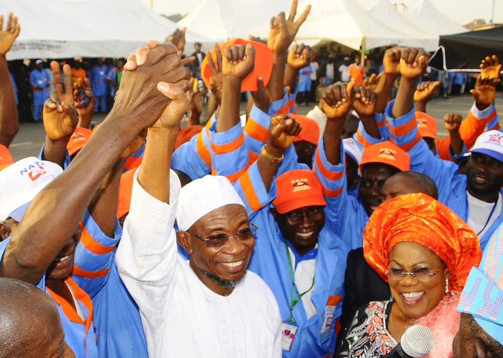 Governor State of Osun, Ogbeni Rauf Aregbesola; his Deputy, Mrs Titi Laoye Tomori with the Executives of Nigeria Automobile Technician Association (NATA), Osun Chapter, during the governor's Endorsement for Second Term in Office and Inauguration of State Executives at Nelson Mandela Freedom Park, Osogbo on Thursday 20-03-2014