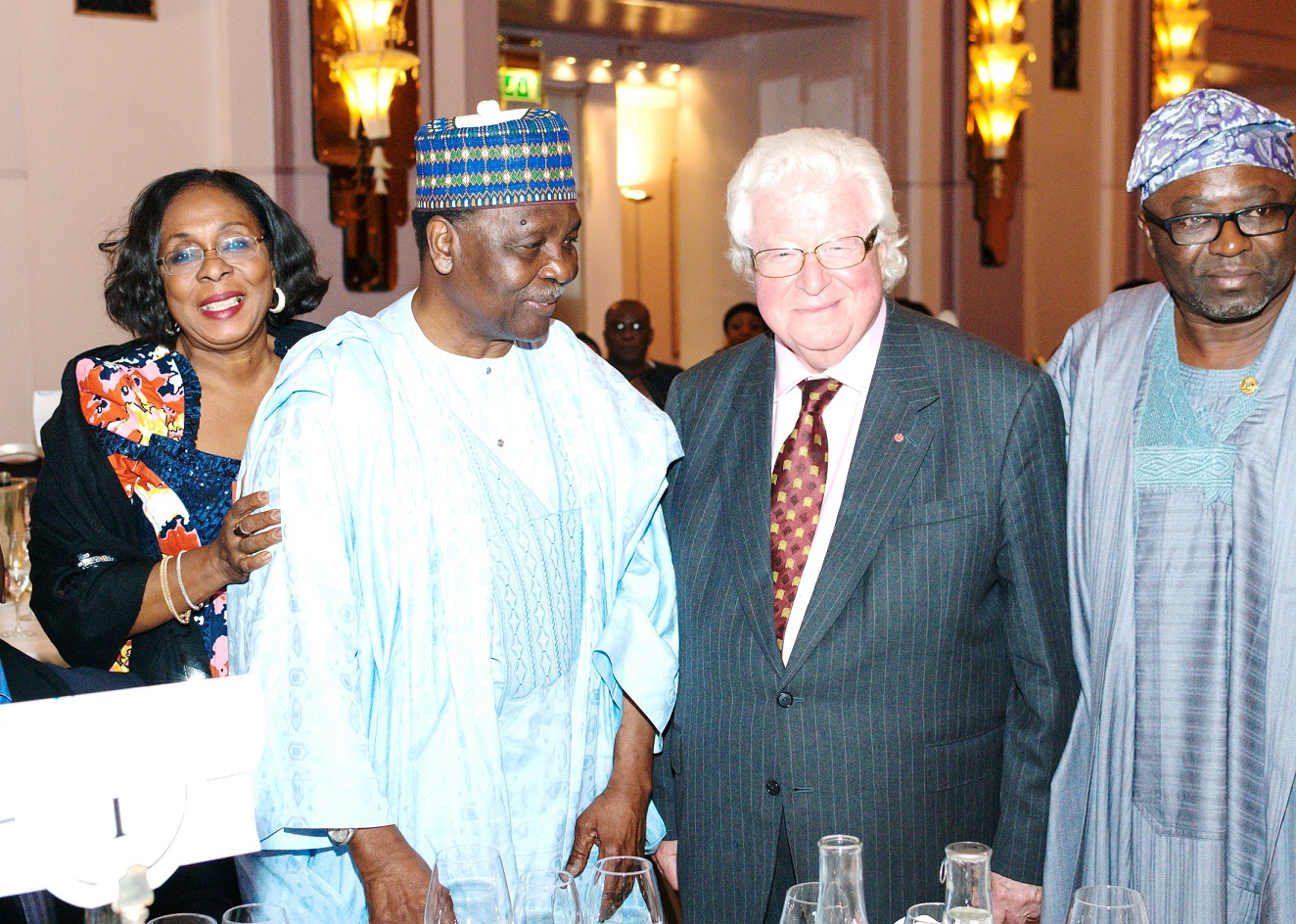 From left, Special Adviser to the Governor, State of Osun on Women Affairs and Social Welfare, Mrs Funmilayo Eso-Williams; Former Head of State, General Yakubu Gowon; Lord Watson of Richmond and Director General, Office of Economic Development & Partnerships State of Osun, Dr. Charles Akinola, during the Presentation of 2014 AD King Prize for Achievement in Public Service to Governor State of Osun, Ogbeni Rauf Aregbesola, at Commonwealth Observance Day in London.