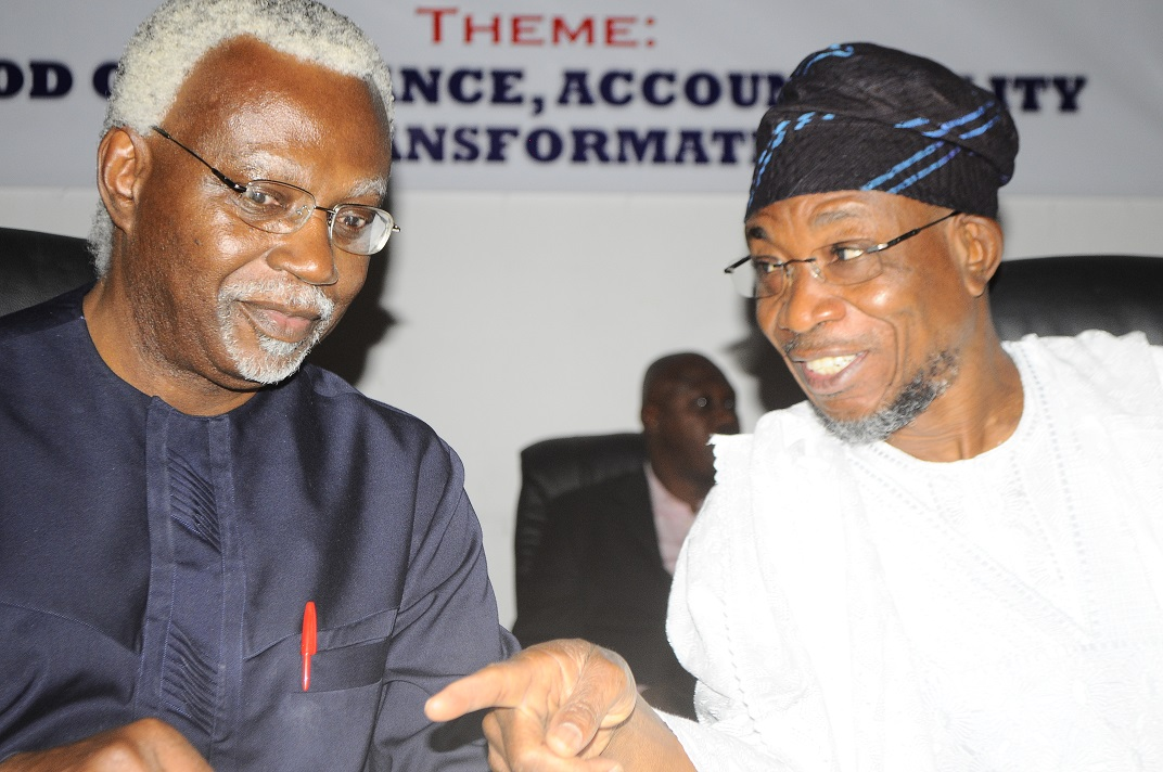 Governor State of Osun/Guest Speaker, Ogbeni Rauf Aregbesola and Chairman Independent Corrupt Practices & Other Related Offences Commission (ICPC), Mr. Ekpo Nta, during the First 2014 Independent Corrupt Practices & Other Related Offences Commission (ICPC) Good Governance Forum, at ICPC Auditorium, Abuja on Tuesday 11/03/2014.