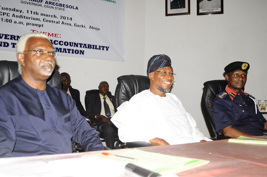 Governor State of Osun/Guest speaker, Ogbeni Rauf Aregbesola (middle); Chairman Independent Corrupt Practices & Other Related Offences Commission (ICPC), Mr. Ekpo Nta (left) and Commandant Nigeria Security and Civil- Defence Corp, Dr. Ade Abolurin (right), during the First 2014 Independent Corrupt Practices & Other Related Offences Commission (ICPC) Good Governance Forum, at ICPC Auditorium, Abuja on Tuesday 11/03/2014.