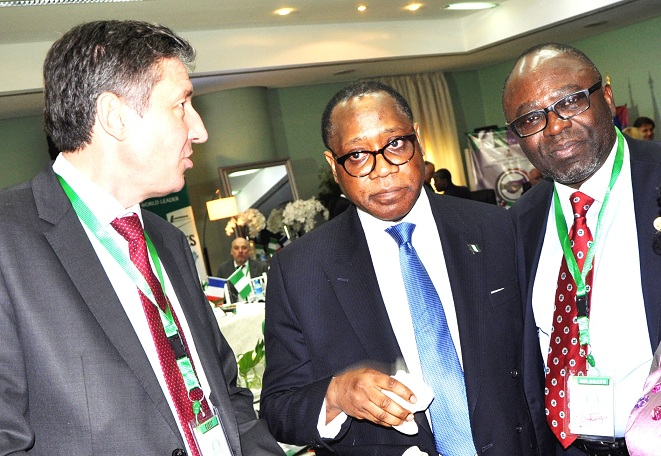 President of France-1  From left, Chief Executive Officer of Vergnet Group, France, Mr. Jerome Douat; Director General, Economic Development and Partnership, State of Osun, Dr, Charles Akinola and Special Adviser to Osun Governor on Federal Matters, Hon. Idiat Babalola, at the signing of memorandum of Understanding (MoU) on power generation with the Vergnet Group of France in Abuja, at the weekend