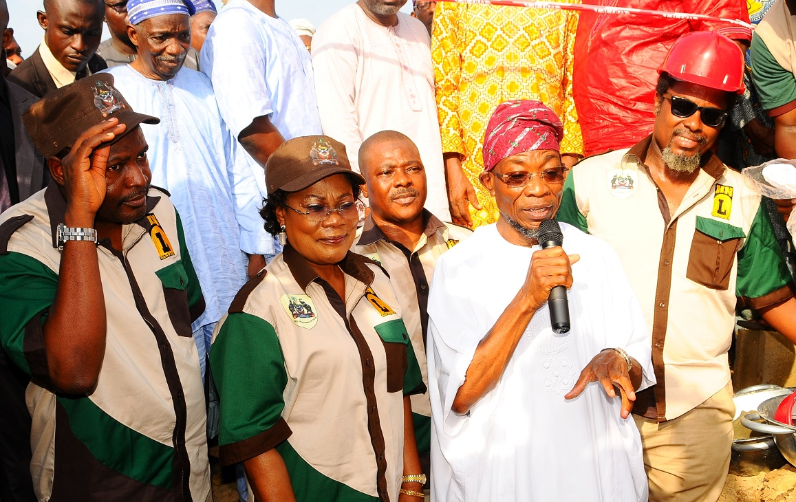 Governor State of Osun, Ogbeni Rauf Aregbesola (2nd right); his Deputy, Mrs Titi Laoye Tomori (2nd left); Commissioner for Agriculture and Food Security, Mr Wale Adedoyin (left); Managing Director, Hanfriqul Nigeria Limited, Alhaji Kolawole Aresa (3rd left); Sub-Consultant, Hanfriqul Nigeria Limited, Mr Dapo Ademosu (right) and others, during the Turning of Sod for the Construction of Ultra Modern Central Abattoir in Iwo, State of Osun, during the weekend