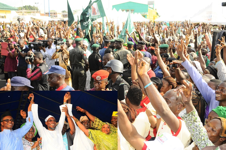 Cross Section of Delegates at the governorship primaries where Governor Rauf Aregbsola emerged the candidate of the All Progressive Congress, held at Nelson Mandela Freedom Park, Osogbo, State of Osun. Inset is ---From left, Former Federal Capital Territory Minister/Chairman, All Peoples Congress in Osun Governorship Primaries Election, Mallam Nasir El-Rufai; Osun Deputy Governor, Mrs Titi Laoye-Tomori; Governor Rauf Aregbesola; State Chairman of the Party, Elder Adelowo Adebiyii; member of the committee, Hajiya Ramatu Haliyu on Saturday 12-04-2014