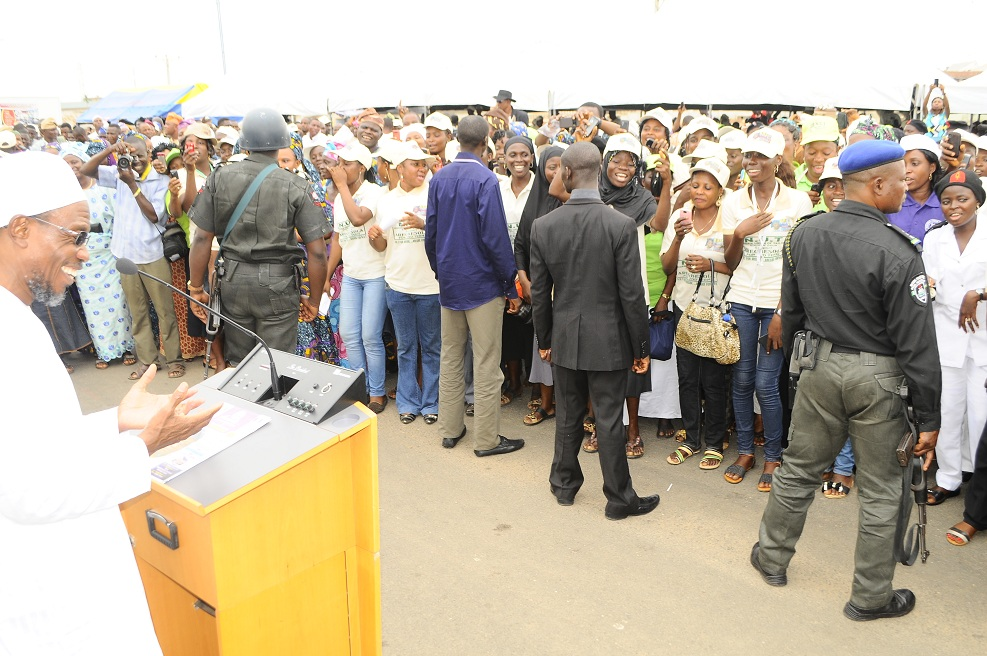Governor Rauf Aregbesola of the State of Osun addressing Nigeria Union of Tailor, during the conferment of Life Patron pf the union on him and endorsement of his 2nd term in office in Osogbo on Tuesday 08 - 04-2014