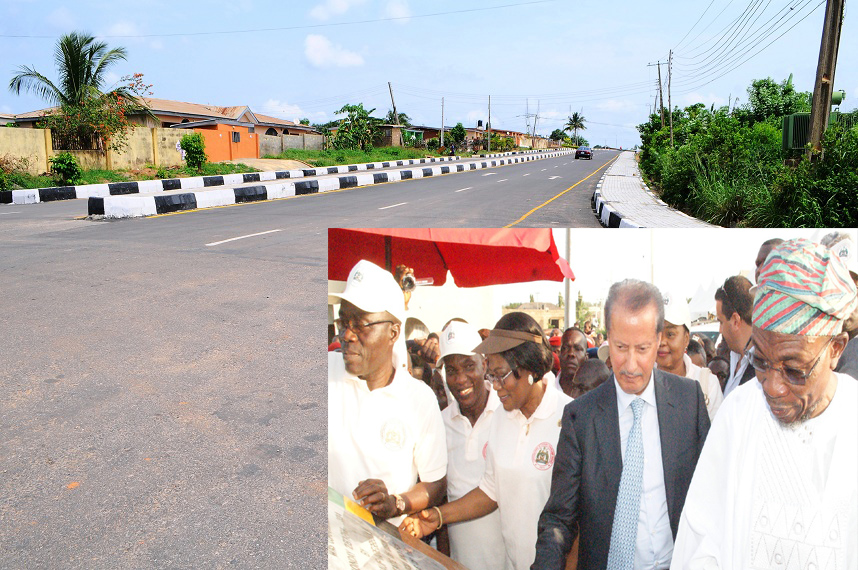 One of the 21 selected roads (26.40km) in Osogbo Township in the State of Osun newly commissioned on Monday 28-04-2014. Inset: From right, Governor State of Osun, Ogbeni Rauf Aregbesola; Chairman, RATCON Construction Company, Mr Elias Saad; deputy Governor, Mrs Titi Laoye-Tomori; Secretary to the State Government, Alhaji Moshood Adeoti; Permanent Secretary, ministry of Works, Engr. Nurudeen Adeagbo and others, during the commissioning.