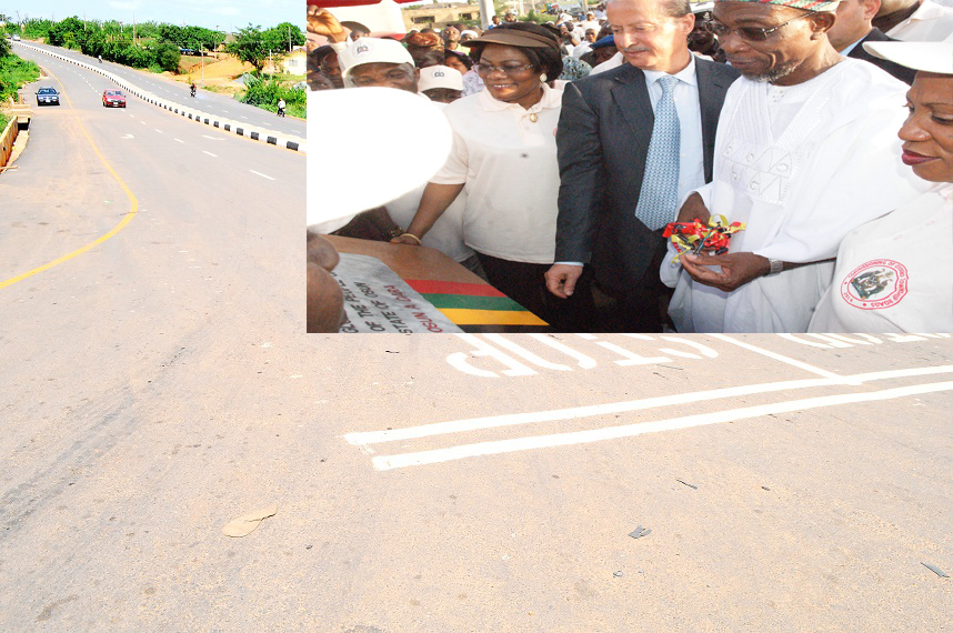 One of the 21 selected roads (26.40km) in Osogbo Township in the State of Osun newly commissioned on Monday 28-04-2014. Inset: From right, Wife of Governor State of Osun, Alhaja Sherifat Aregbesola; Governor Rauf Aregbesola; Chairman, RATCON Construction Company, Mr Elias Saad; deputy Governor, Mrs Titi Laoye-Tomori; Secretary to the State Government, Alhaji Moshood Adeoti and others, during the commissioning.