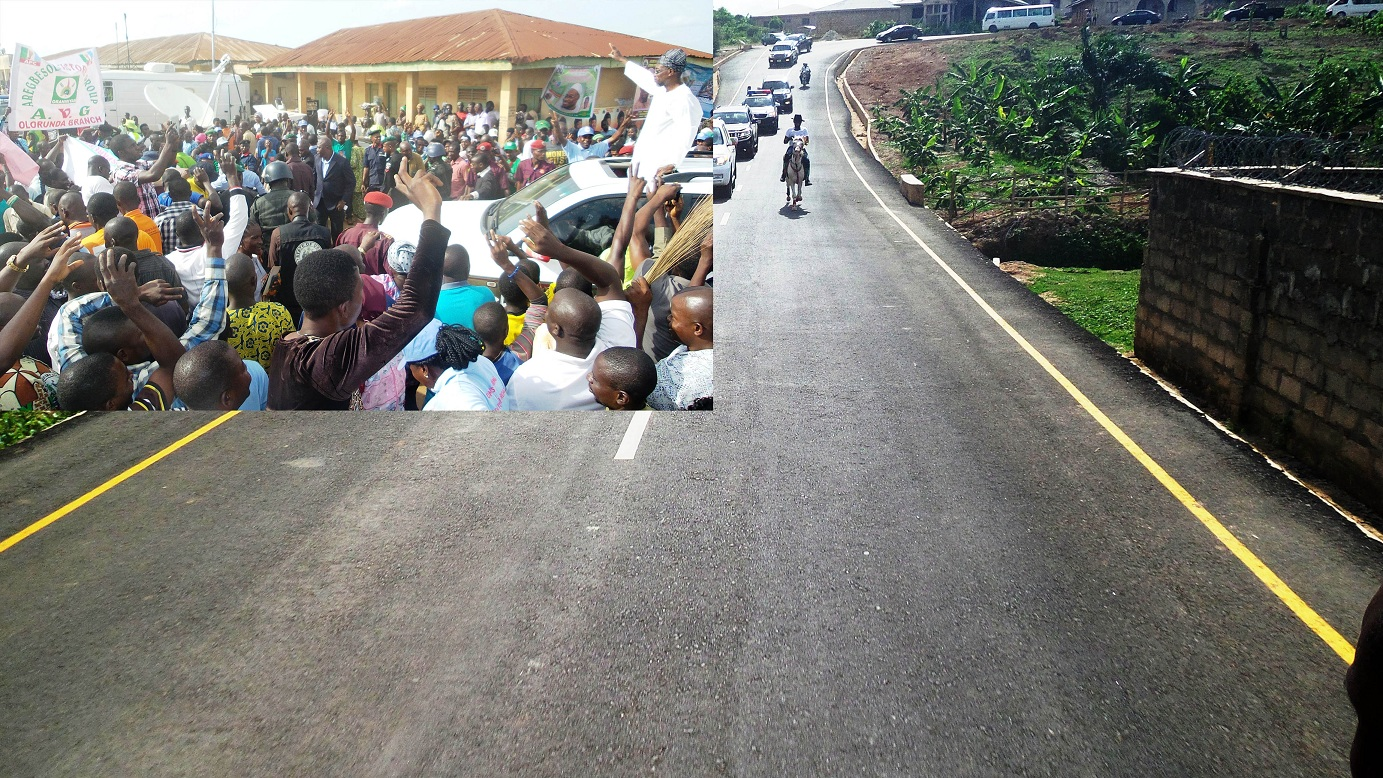 Governor State of Osun, Ogbeni Rauf Aregbesola acknowledging cheers from his supporters, during the commissioning of 15 Ilesa Township roads in the State on Tuesday 15-04-2014