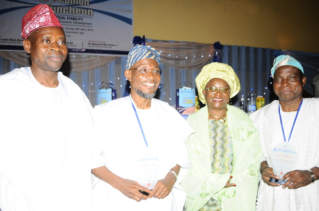 Governor State of Osun, Ogbeni Rauf Aregbesola (middle); President University of Lagos, Musilm Alumni (UMA), Alhaji Sikiru Lere Alimi (left), Speaker House of Assemble Oyo State, Alhaja Monsurat Sunmonu (2nd right) and Vice Chancellor, University of Lagos, Professor Rahaman Adisa Bello (right), during the 6th Reunion Luncheon at Eko Hotel &Suites, Victoria Island,Lagos on Sunday 20-04-2014.