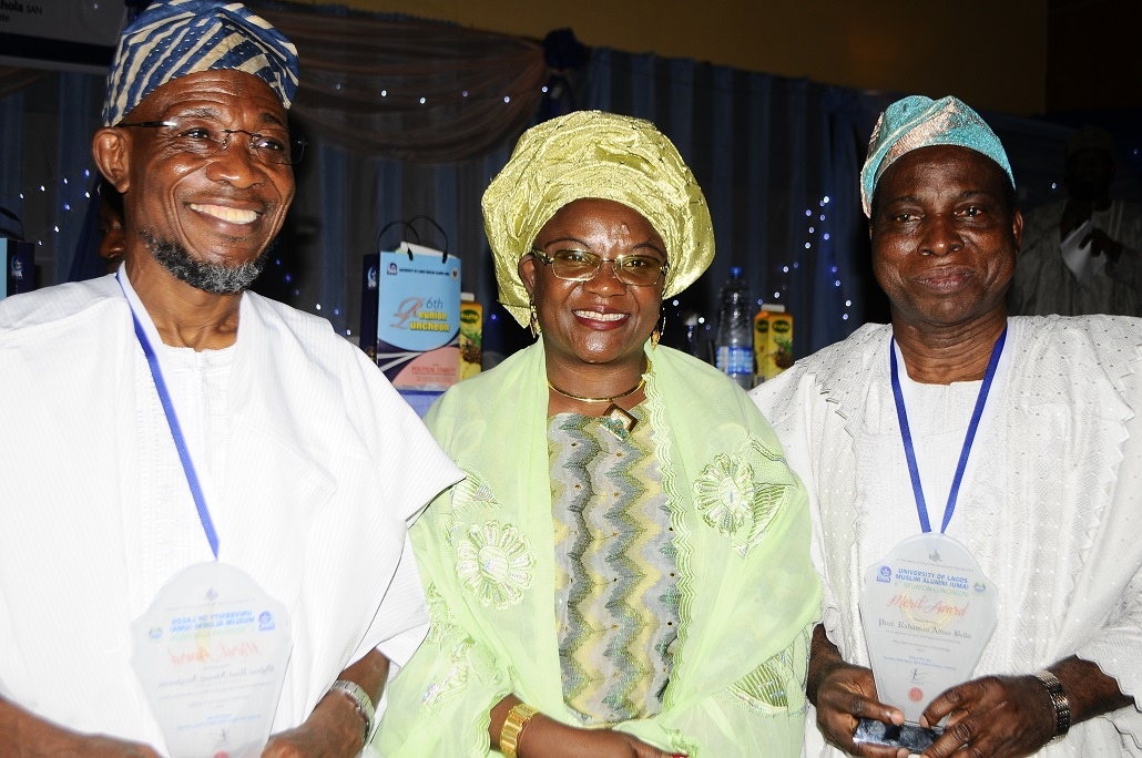 From left -* Governor State of Osun, Ogbeni Rauf Aregbesola; Speaker House of Assemble Oyo State, Alhaja Monsurat Sunmonu and Vice Chancellor, University of Lagos, Professor Rahaman Adisa Bello during the 6th Reunion Luncheon at Eko Hotel &Suites, Victoria Island, Lagos on Sunday 20-04-2014.