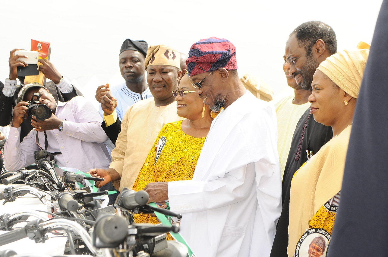 From left, Wife of Osun Governor, Alhaja Sherifat Aregbesola; Special Adviser to the Governor on Water Resources, Rural development and Community Affairs, Mr Kunle Ige; Governor Rauf Aregbesola; Deputy Governor, Mrs titi Laoye Tomori; Speaker of the House of Assembly, Hon. Najeem Salam and others, during the official launching of Osun/Grooming Assisted Women Empowerment Programme and Distribution of N600Million Micro Credit to 18,000 women beneficiaries, held at Mandela Freedom Park, Osogbo, State of Osun on Tuesday 30-04-2014