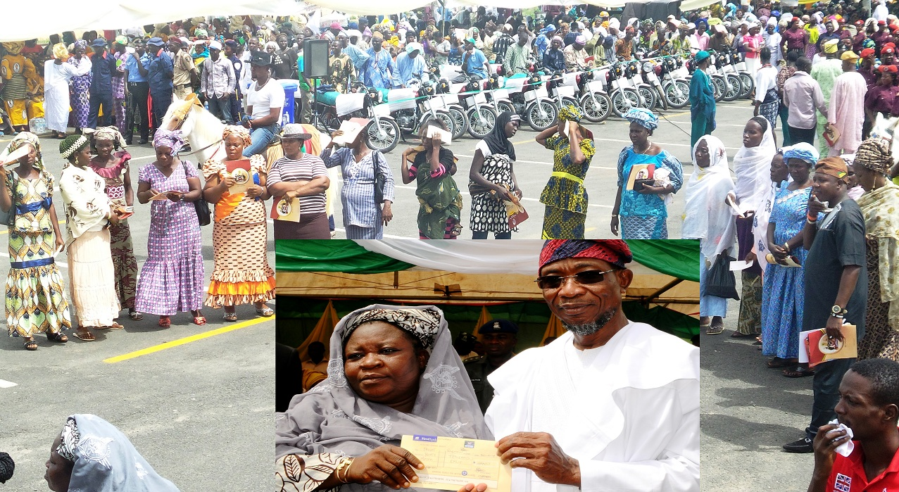 Cross section of beneficiaries and some motor cycles. Inset: Governor State of Osun, Ogbeni Rauf Aregbesola, presenting cheque to Mrs Taiwo Ayodele. during the official launching of Osun/Grooming Assisted Women Empowerment Programme and Distribution of N600Million Micro Credit to 18,000 women beneficiaries, held at Mandela Freedom Park, Osogbo, State of Osun on Tuesday 30-04-2014