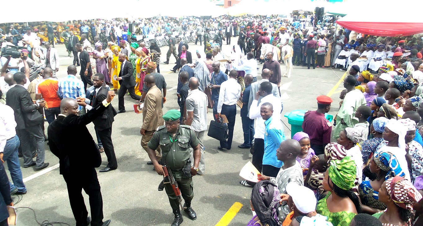 Cross section of Aregbesola's supporters during the official launching of Osun/Grooming Assisted Women Empowerment Programme and Distribution of N600Million Micro Credit to 18,000 women beneficiaries, held at Mandela Freedom Park, Osogbo, State of Osun on Tuesday 30-04-2014