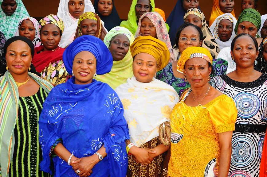 Wife of the Governor, State of Osun, Mrs Sherifat Aregbesola (2nd left); Member House of Representatives, Alhaja Ayo Omidiran (3rd right); Commissioner for Environment and Sanitation, Professor Olubukola Oyawoye (left); Commissioner for Women and Children Affairs, Mrs Mofolake Adegboyega (right); Arewa Communities State Women Leader, All Progressives Congress (APC), Hajia Aishat Sulaimon (2nd right) and others, during the State of Osun APC Arewa Communities Women Leaders' Courtesy Visit to Wife of the Governor in Government House, Osogbo, State of Osun on Friday 02-05-2014