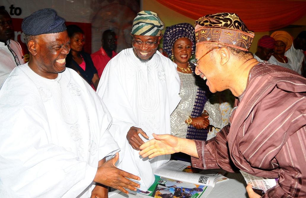From left, Chairman of the Occasion/Interim National Chairman, All Progressives Congress (APC), Chief Bisi Akande; Governor State of Osun, Ogbeni Rauf Aregbesola; his Wife, Mrs Sherifat and Guest Speaker, Professor Pat Utomi, during the Presentation of BusinessWorld Newspaper Award to Aregbesola as the Most Innovative Governor in his First Term Tenure at Zenababs Hotels and Resort, Ilesa, State of Osun on Saturday 03-05-2014.