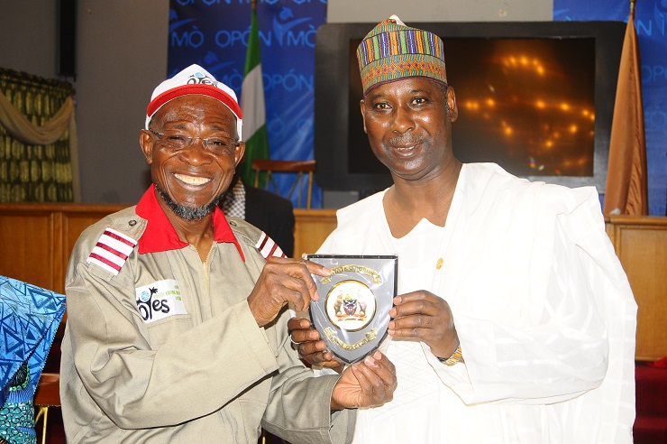 Governor State of Osun, Ogbeni Rauf Aregbesola (left) and Director General, National Institute for Policy and Strategic Studies (NIPSS), Professor Tijani Mohammed, during a visit to the Governor, after thier assessment tour of the State,  Osogbo, at the weekend