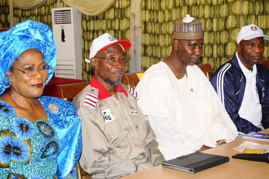 Ogbeni Rauf Aregbesola; Director General, National Institute for Policy and Strategic Studies (NIPSS), Professor Tijani Mohammed and Secretary to the State Government of Osun, Alhaji Moshood Adeoti, during a visit to the Governor, after an assessment tour of the State Osogbo, at the weekend