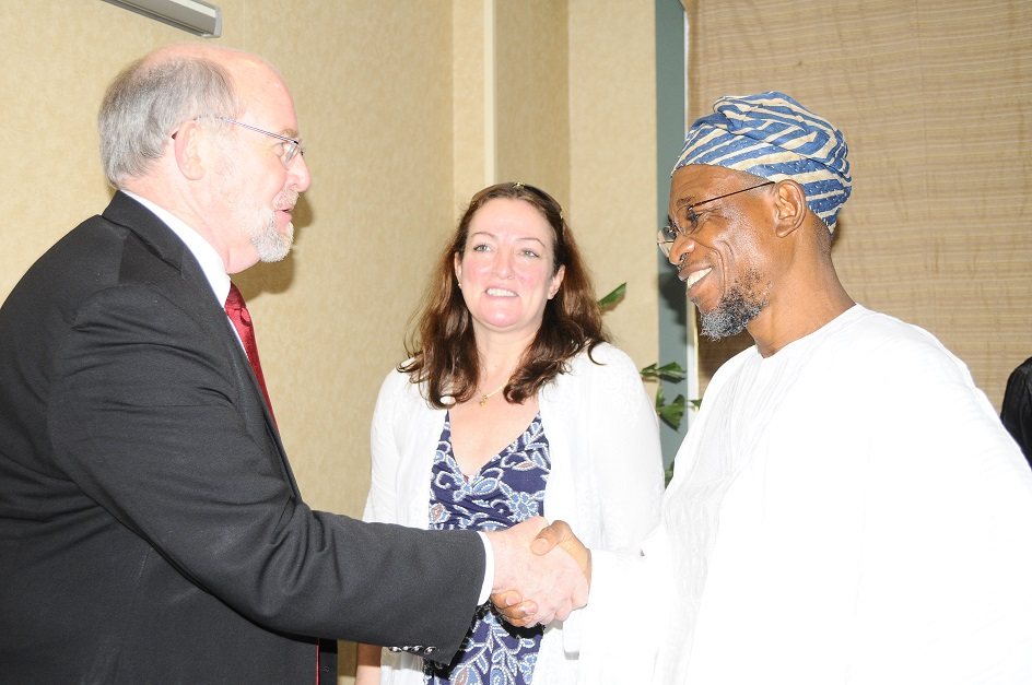 From right - Guest Lecturer/Governor State of Osun, Ogbeni Rauf Aregbesola; Executive Director, Partnership for Child Development (PCD), Lesley Draice and World Bank Representative, Prof. Don Bundy at the Technical Workshop on Home grown School Feeding programmes  at Transcorp Hilton hotels Abuja on Monday 19-05-2014.