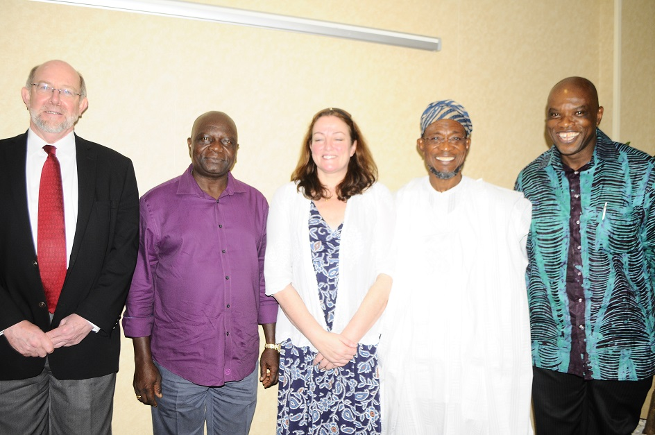 From right –Board member, Partnership for Child Development (PCD),Uwem Esist, Guest Lecturer/Governor State of Osun, Ogbeni Rauf Aregbesola, Executive Director, Partnership for Child Development (PCD), Lesley Draice, Former Governor State of Osun, Prince Olagunsoye Oyinlola and World Bank Representative, Prof. Don Bundy at the Technical Workshop on Home grown School Feeding programmes  at Transcorp Hilton hotels Abuja on Monday 19-05-2014.