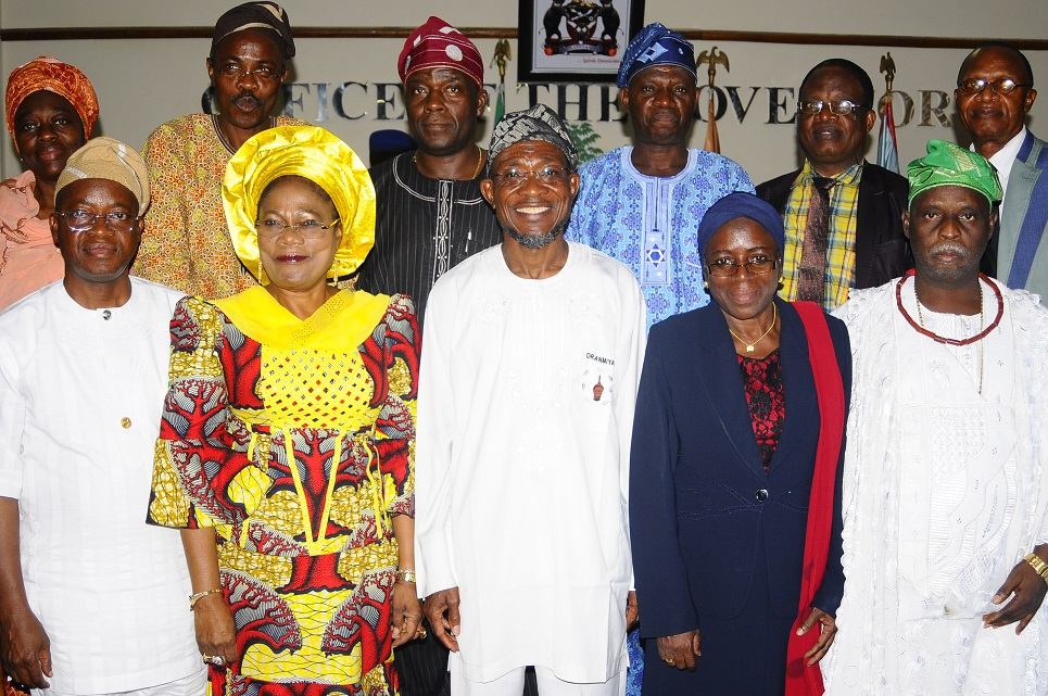 Governor State of Osun, Ogbeni Rauf Aregbesola (centre); his Deputy, Mrs Titi Laoye-Tomori (2nd left); Chief of Staff to the Governor, Alhaji Gboyega Oyetola (left); Chairperson,  Special Committee on Discipline in Osun Public Schools, Alhaja Mulikat Bello (2nd right); Member of Committee, Chief Idowu Awopetu (right) and others, during the submission of the committee's Report to the Governor in his Office, Osogbo, State of Osun on Tuesday 13-05-2014