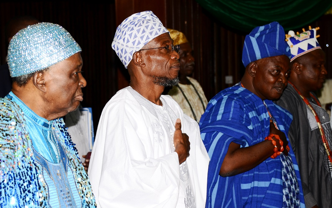From left, Ooni of Ife, Oba Okunade Sijuwade; Governor State of Osun, Ogbeni Rauf Aregbesola; Orangun of Ila, Oba Wahab Oyedotun and Ataoja of Osogboland, Oba Jimoh Olanipekun, during a Two-Day Conference of Foremost Traditional Rulers in Osun on the Overall Development of the State at Centre for Black Culture and International Understandings, Abere, State of Osun on Thursday 15-05-2014