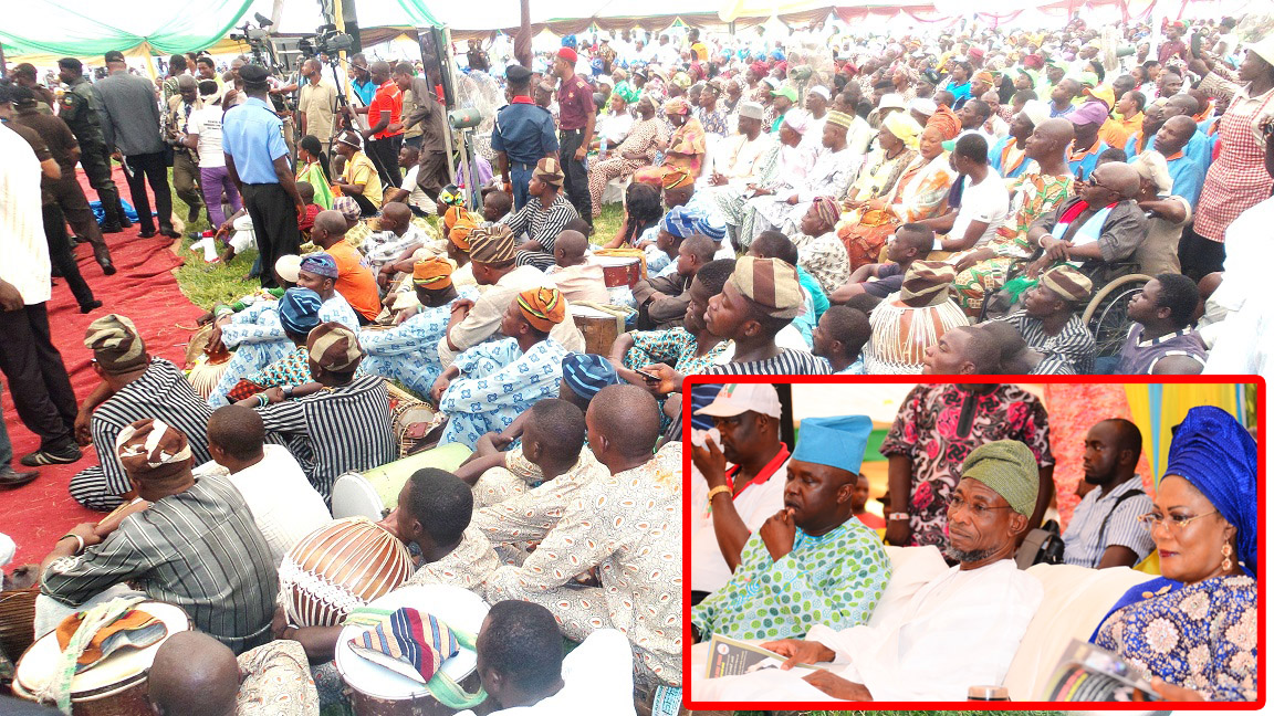 Mammoth Crowd, during the 8th Edition an Interactive Public Feedback Programme tagged: 'Gbangba D'ekun' in Ijesa North Federal Constituency at Ijesa-Jesa High School, Ijebu-Jesa, State of Osun. Insert: From right, Deputy Governor State of Osun, Mrs Titi Laoye-Tomori; Governor Rauf Aregbesola; Member National Assembly, Representing Osun East Senatorial District, Senator Babajide Omoworare and Member, House of Representatives, Honourable Nathaniel Agunbiade, on Thursday 26-06-2014