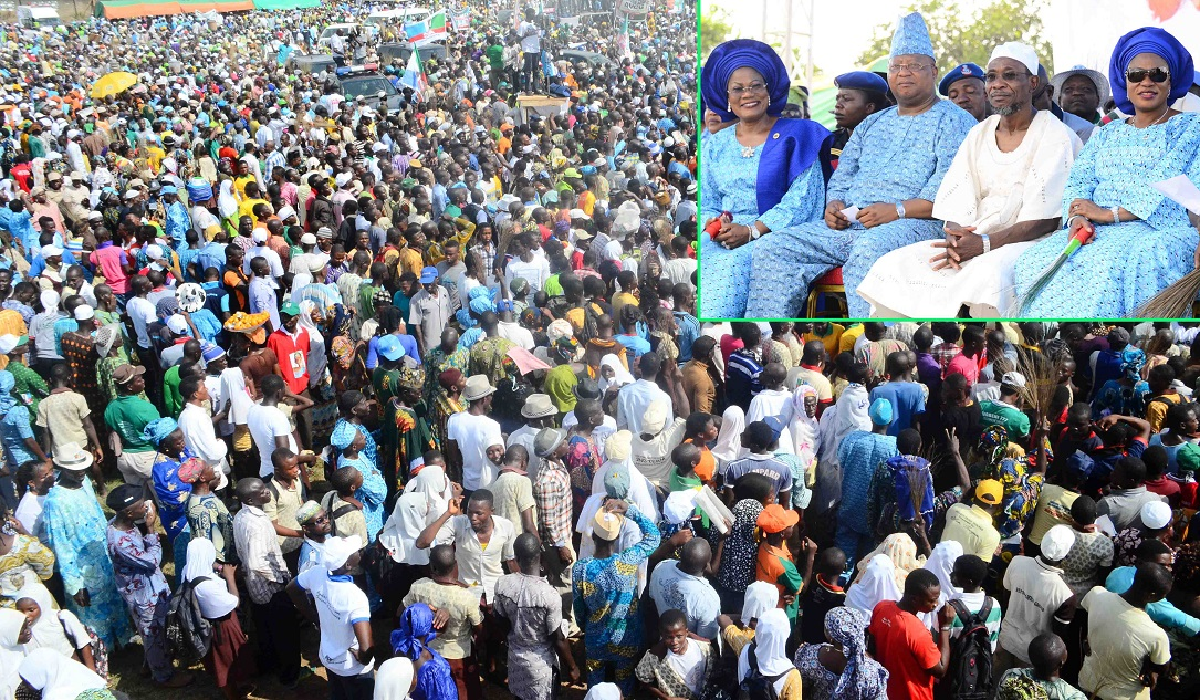 Mammoth Crowd at Governor Aregbesola's Re-election Campaign in Iwo Federal Constituency, Iwo, State of Osun on Tuesday 17-06-2014. Insert: From right, Wife of the Governor, Sherifat Aregbesola; Governor Rauf Aregbesola; First Civilian Governor in the State, Senator Isiaka Adeleke and Deputy Governor, Mrs Titi Laoye-Tomori.