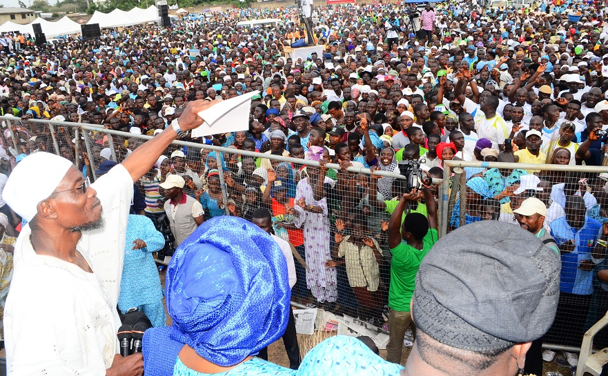 Governor State of Osun, Ogbeni Rauf Aregbesola addressing the Mammoth Crowd during his Re-election Campaign in Iwo Federal Constituency, Iwo, State of Osun on Tuesday 17-06-2014
