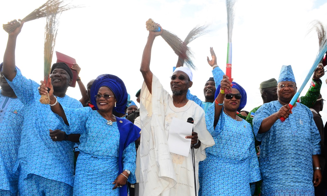 From right, First Civilian Governor in Osun, Senator Isiaka Adeleke; Wife of the Governor, Sherifat Aregbesola; Governor Rauf Aregbesola; his Deputy Governor, Mrs Titi Laoye-Tomori and Speaker, State House of Assembly of Osun, Honourable Najeem Salam, during Aregbesola's Re-election Campaign in Iwo Federal Constituency, Iwo, State of Osun on Tuesday 17-06-2014