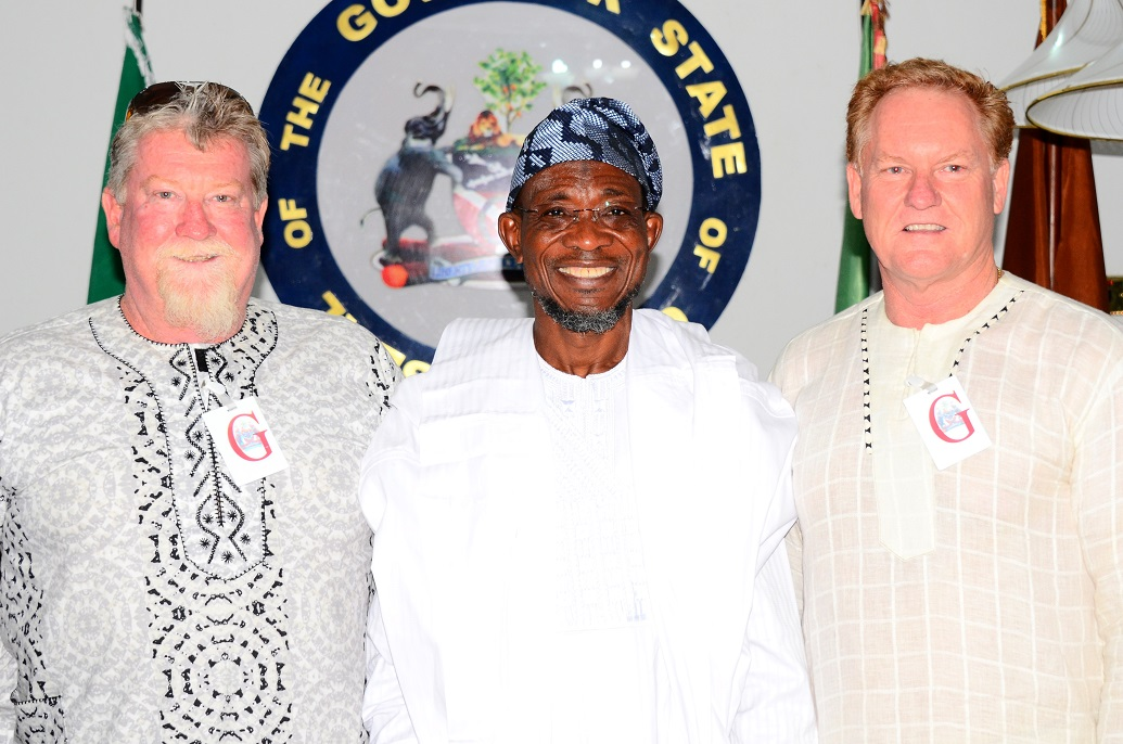 Governor State of Osun, Ogbeni Rauf Aregbesola (middle); Project Manager, Andalusian Mining Limited, Perth Western Australia, Colin Miller (right) and Managing Director of the Company, Wayne Miller, during the Company's Visit to the Governor in Government House, Osogbo, State of Osun on Friday 27-06-2014