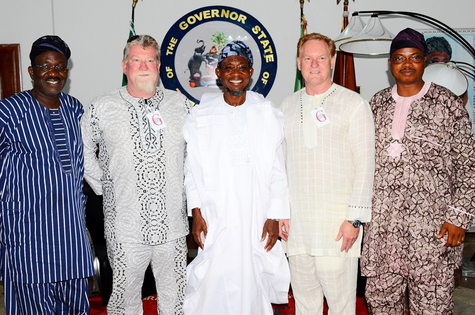 Governor State of Osun, Ogbeni Rauf Aregbesola (centre); Senior Special Assistant to the Governor on Mineral and Natural Resources, Prince Tunde Ajilore (left); Special Adviser on Commerce,Co-operatives and Empowerment, Dr Yinusa Dauda (right); Project Manager, Andalusian Mining Limited, Perth Western Australia, Colin Miller (2nd right) and Managing Director of the Company, Wayne Miller (2nd left), during the Company's Visit to the Governor in Government House, Osogbo, State of Osun on Friday 27-06-2014