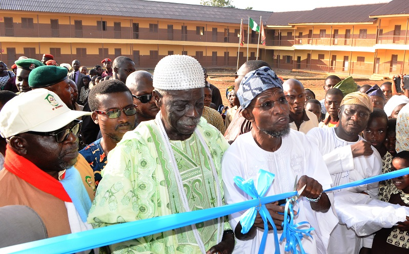 Governor State of Osun, Ogbeni Rauf Aregbesola [middle], Ogunsua of Madekeke, Oba Francis Adedoyin [2nd left],Chairman Osun Schools Reclassification Committee[O' Schools], Alhaji Layi Oyeduntan [left] and the Executive Secretary, Ife-East Area Office, Modakeke, Mr Wale Amusan during the official commissioning of St. Stephen's Middle School, Modakeke State of Osun on Friday 18/07/2014