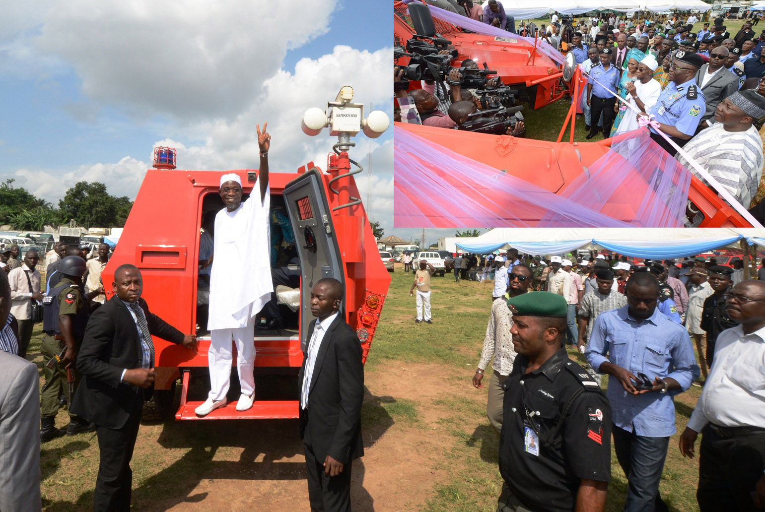 Governor State of Osun, Ogbeni Rauf Aregbesola after test driving one of the newly commissioned Amoured Personnel Carrier (APC) his Administration distributed to the State Security Personnel,. Insert: Governor State of Osun, Ogbeni Rauf Aregbesola (Middle in white); his deputy, Mrs Titi Laoye_Tomori; Speaker of the House of Assembly, Hon. Najeem Salam (left); Assistant Inspector General of Police (AIG) Zone 11, Mr David Omolaja (2nd left); Osun Commissioner of Police, Mr.Maishanu Ibrahim (5th left); Special Adviser to the Governor on Security Matters, Barrister Amos Adekunle (6th left) and others, during the commissioning of Amoured Personnel Carrier (APC) in Osogbo, the State of Osun on Thursday 11-07-2014