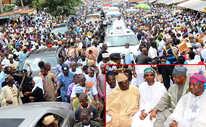 Governor State of Osun, Ogbeni Rauf Aregbesola acknowledging cheers from Muslim faithful on his way to Central Eid Praying Ground. Insert: From right, Ataoja of Osogboland, Oba Jimoh Olanipekun; Asiwaju Adeen of Yorubaland, Alhaji Tunde Badmus; Governor Rauf Aregbesola; Chieftain, All Progressives Congress (APC), Senator Bayo Salami; Alhaji Fatai Diekola and others, during the 2014 Eid-El-Fitri prayer in Osogbo, State of Osun on Monday 28-07-2014