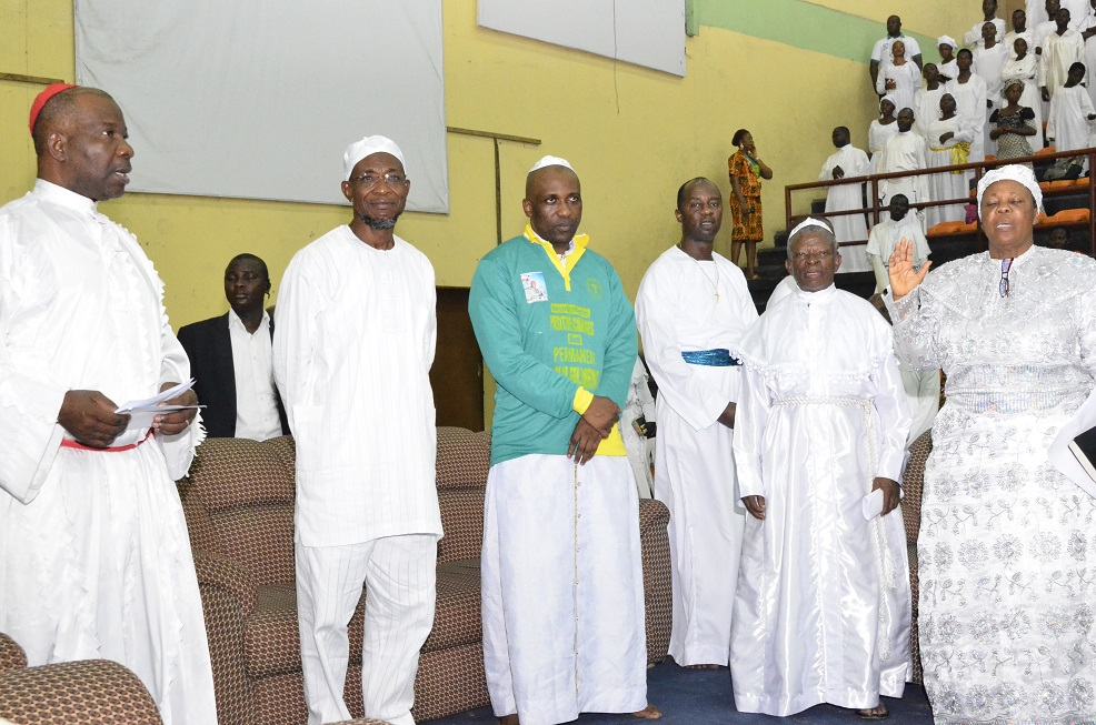 From left* – Vice President, United Aladura Churches, Prophet Adedotun Oshiyemi, Governor State of Osun, Ogbeni Rauf Aregbesola;  the Founder & Spiritual Head of INRI Evangelical Spiritual Church, Primate Babatunde Elijah Ayodele, Prophet Owatunde Marshall, Special Apostle, Adeniyi Elijah and Mother Captain, Ukhiru Esho  during the maiden Revival of INRI Ministry,  at Gymnasium Complex National Stadium Surulere Lagos, during the weekend