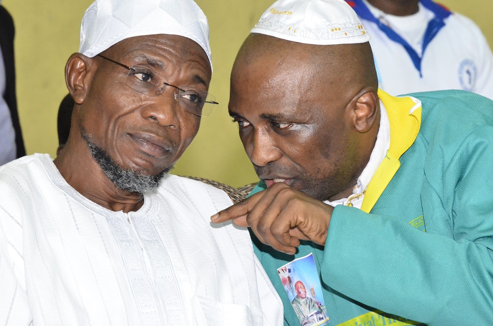 Governor State of Osun, Ogbeni Rauf Aregbesola and the Founder & Spiritual Head of INRI Evangelical Spiritual Church, Primate Babatunde Elijah Ayodele during the maiden Revival of INRI Ministry, at Gymnasium Complex National Stadium Surulere Lagos, during the weekend