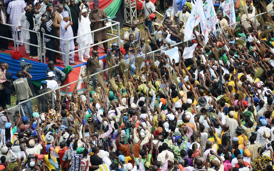 First civilian Governor, Senator Isiaka Adeleke; Governor Rauf Aregbesola and his Ogun State counterpart, Senator Ibikunle Amosun (Top left) addressing crowd, during Aregbesola's Re-election campaign rally in Ijesa South Federal Constituency, Ilesa, State of Osun onTuesday 15-07-2014