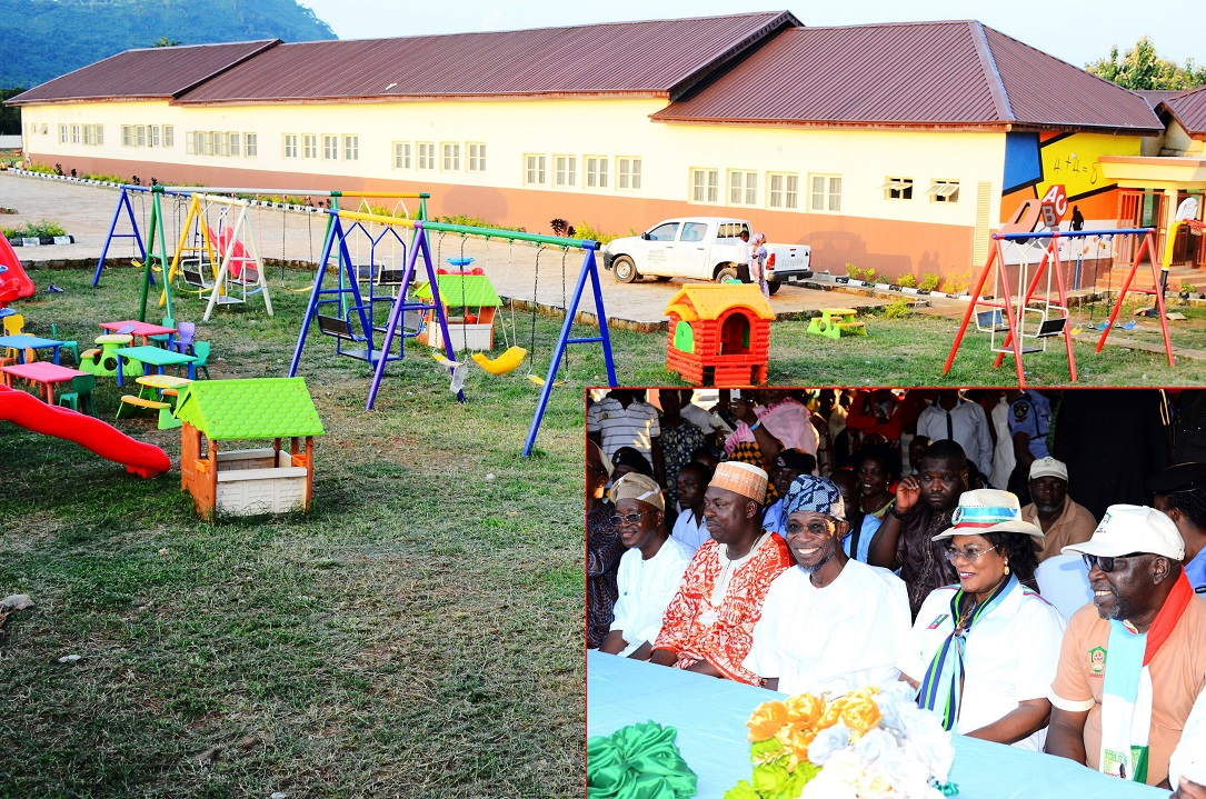 A section of the newly Commissioned Local Authority (L.A) Elementary School, Imo, Ilesa. Insert: From right, Chairman, Osun Schools Infrastructure Development Committee (O'School), Otunba Lai Oyeduntan; Deputy Governor, Mrs Titi Laoye-Tomori; Governor Rauf Aregbesola; Leader, Osun House of Assembly, Honourable Timothy Owoeye; Chief of Staff, Alhaji Gboyega Oyetola and others, on Friday 18-07-2014