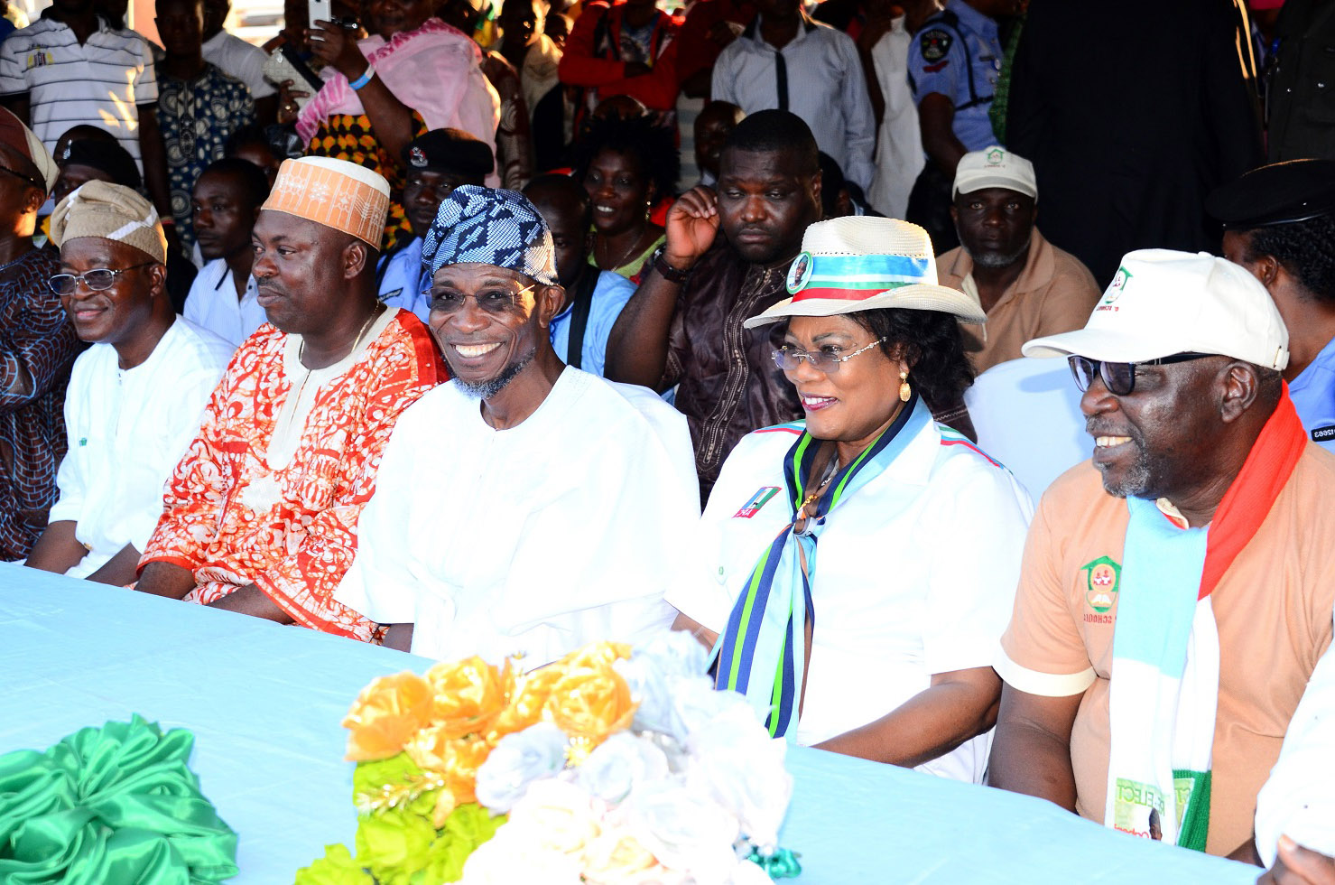 From right, Chairman, Osun Schools Infrastructure Development Committee (O'School), Otunba Lai Oyeduntan; Deputy Governor, Mrs Titi Laoye-Tomori; Governor Rauf Aregbesola; Leader, Osun House of Assembly, Honourable Timothy Owoeye; Chief of Staff, Alhaji Gboyega Oyetola and others, during the commissioning of Local Authority (L.A) Elementary School, Imo, Ilesa on Friday 18-07-2014