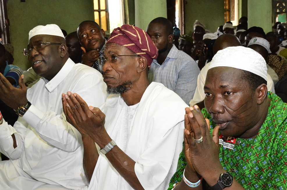 From right-* Speaker, State of Osun House of Assembly, Hon. Najeem Salam, Governor State of Osun, Ogbeni Rauf Aregbesola and Senator representing Osun West Senatorial District, Hon. Mudasiru Hussain, during a prayer session for Governor Aregbesola's Re-election on his visit to the town on Friday 25/07/2014