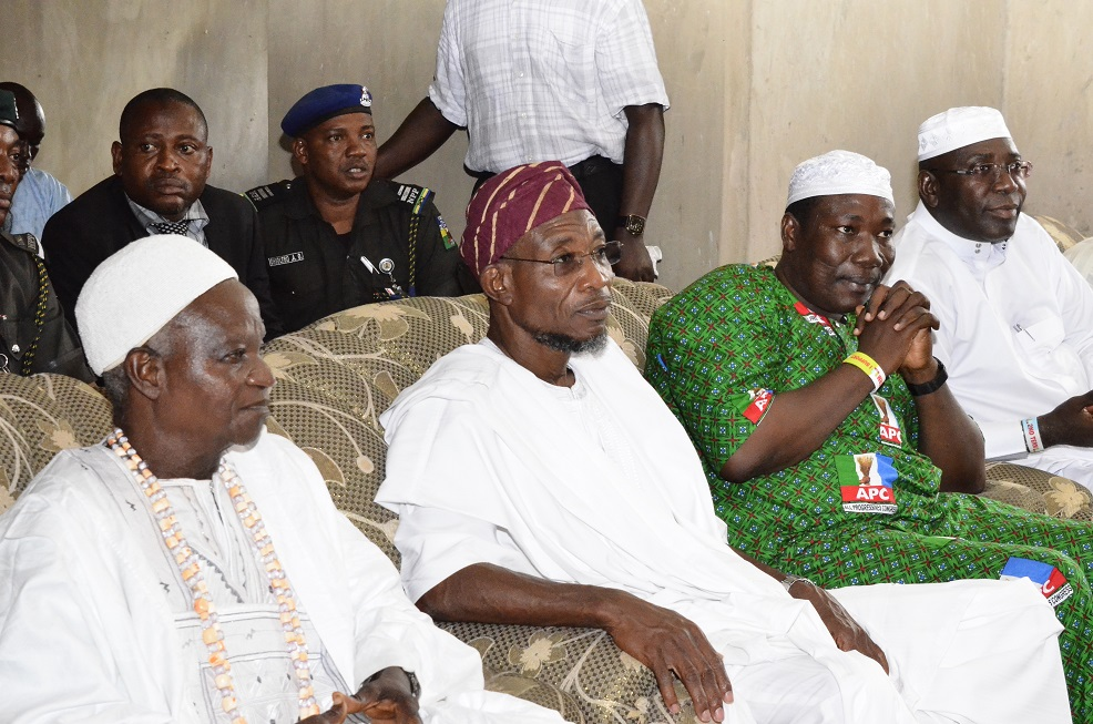 From left-* Adimula of Ife-Odan, Oba Adeyemi Emmanuel Morontade, Governor State of Osun, Ogbeni Rauf Aregbesola, Speaker, State of Osun House of Assembly, Hon. Najeem Salam and Senator representing Osun West Senatorial District, Hon. Mudasiru Hussain,during a prayer session for Governor Aregbesola's Re-election on his visit to the town on Friday 25/07/2014