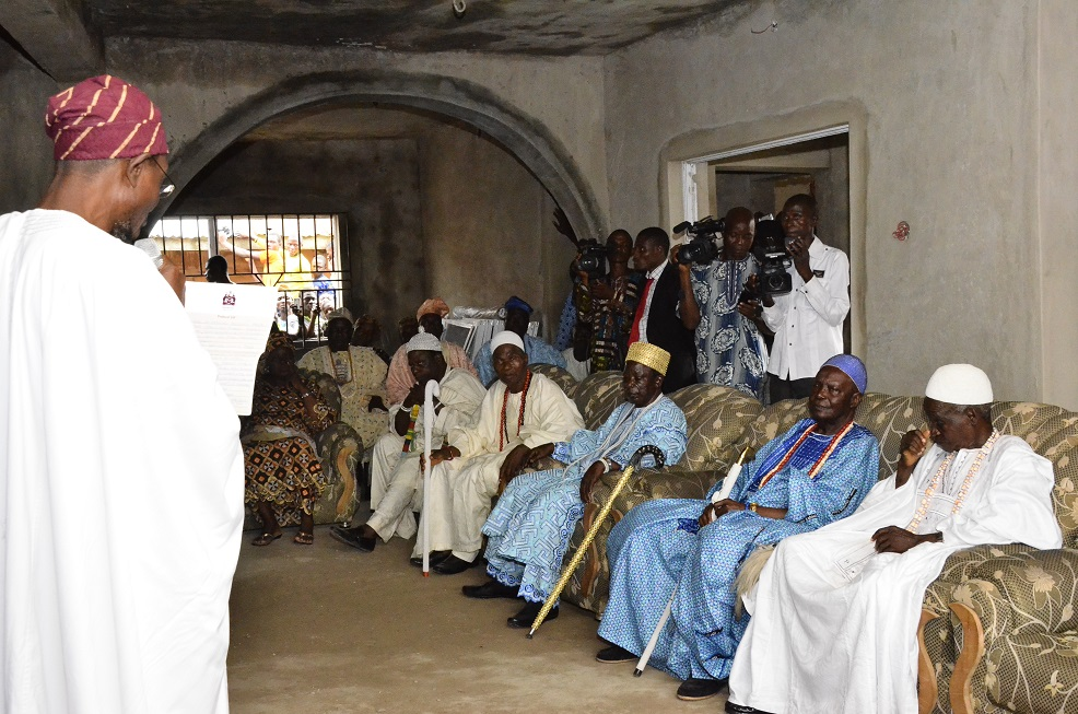 Governor State of Osun, Ogbeni Rauf Aregbesola addressing some traditional rulers gathered at the Adimula of Ife-Odan's palace , during a prayer session for Governor Aregbesola's Re-election on his visit to the town on Friday 25/07/2014